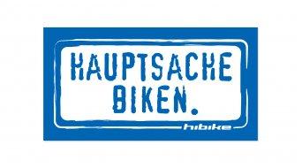 HIBIKE Hauptsache Biken. Aufkleber blau/weiß (deckend)