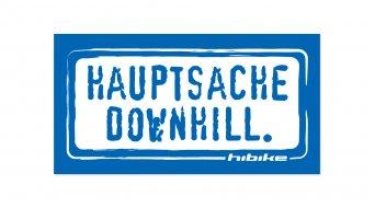 HIBIKE Hauptsache Downhill. Aufkleber blau/weiß (deckend)