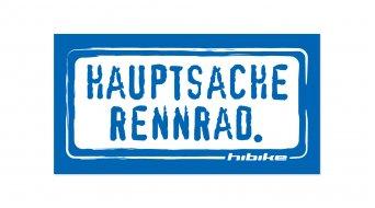 HIBIKE Hauptsache Rennrad. Aufkleber blau/weiß (deckend)