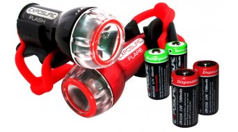 Exposure Lights Flash LED-Frontlicht Set schwarz u. Flare rot inkl. Stangenhalterung / Batterie