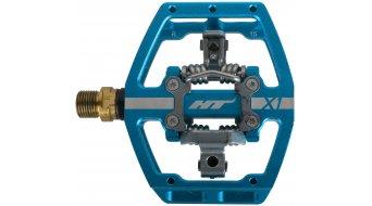 HT DH-Race X1T Titan Pedale blau (ohne Pins) - VORFÜHRTEIL einmal verbaut und gefahren, daher leichte Gebrauchsspuren