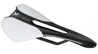 AX Lightness Leaf Plus 3K Carbon Sattel 3K-carbon / Leder weiß (bis-100kg-Fahrergewicht)