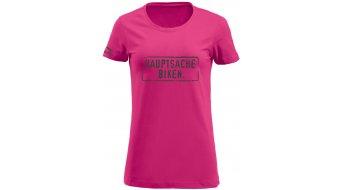 HIBIKE Hauptsache Biken. T-Shirt kurzarm Damen-T-Shirt pink/grau